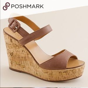 J. Crew Maryanne Brown cork wedge sandals